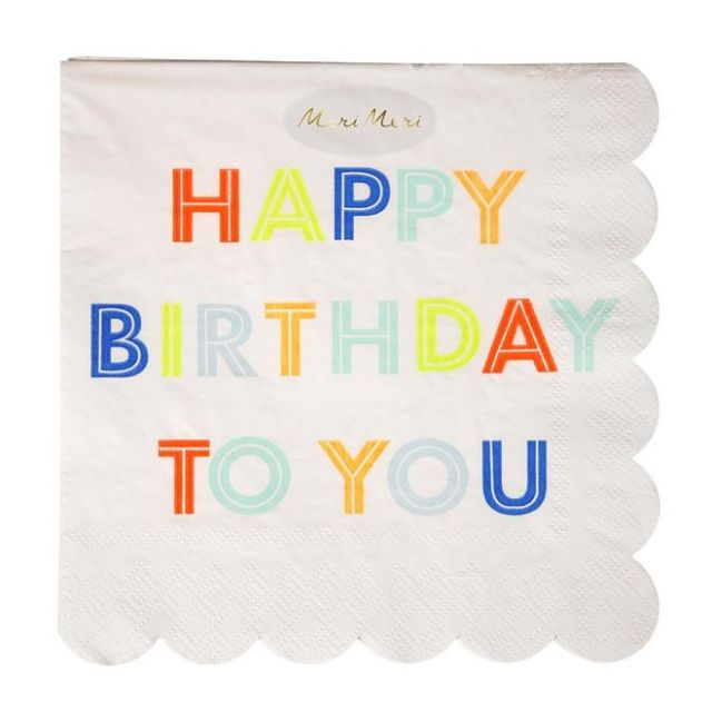 Meri Meri TOVAGLIOLI GRANDI HAPPY BIRTHDAY Set 20 pz
