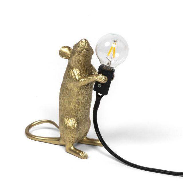 Seletti MOUSE LAMP GOLD Step LAMPADA DA TAVOLO