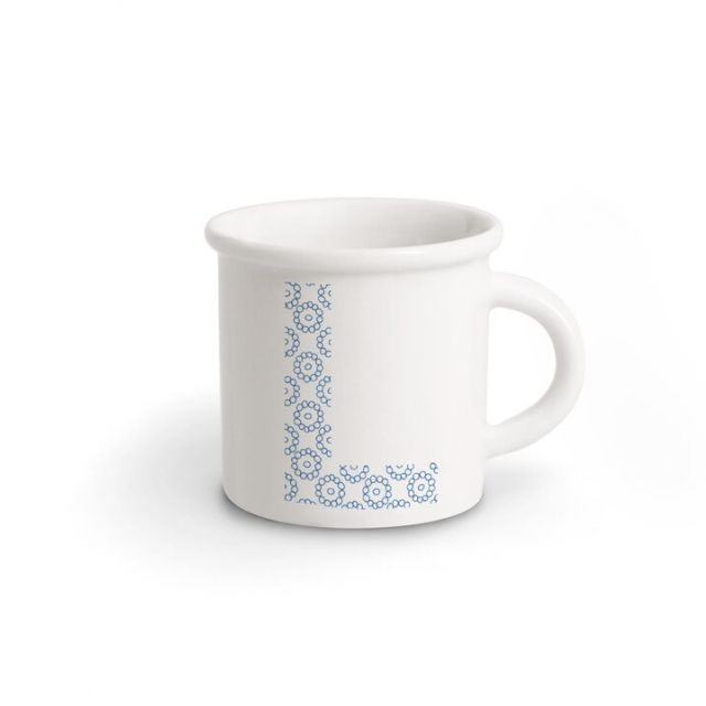 TAZZA IN PORCELLANA LETTERA L blue