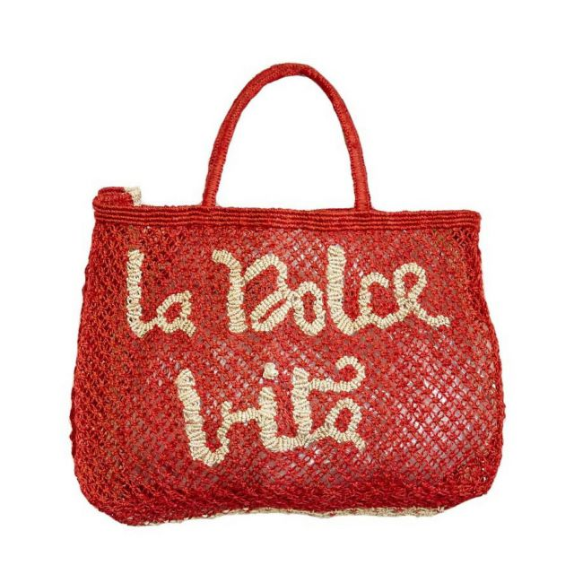 BORSA in TELA DI JUTA LA DOLCE VITA Red Small