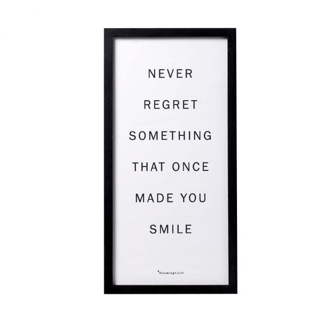 Bloomingville  QUADRO text: never regret.... 30 x h60 cm