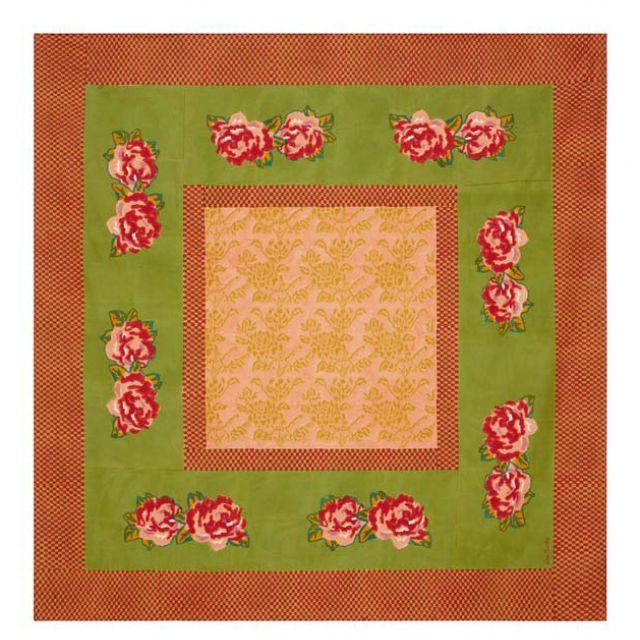 TELO COTONE 180 x 180 cm DOUBLE PEONIA ACID GREEN