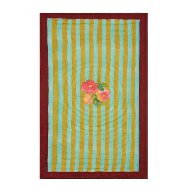 TRAPUNTA BAMBINO 110 x 180 cm NIZAM STRIPES TURQUOISE ACID GREEN