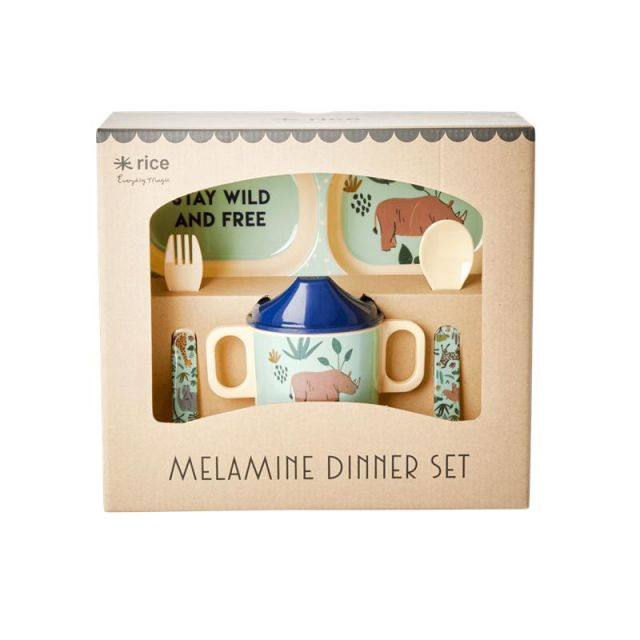 BABY DINNER SET MELAMINA AZZURRO - ANIMALI DELLA GIUNGLA
