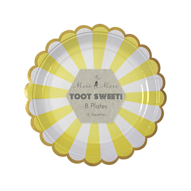 Meri Meri TOOT SWEET Small Plates Yellow Striped