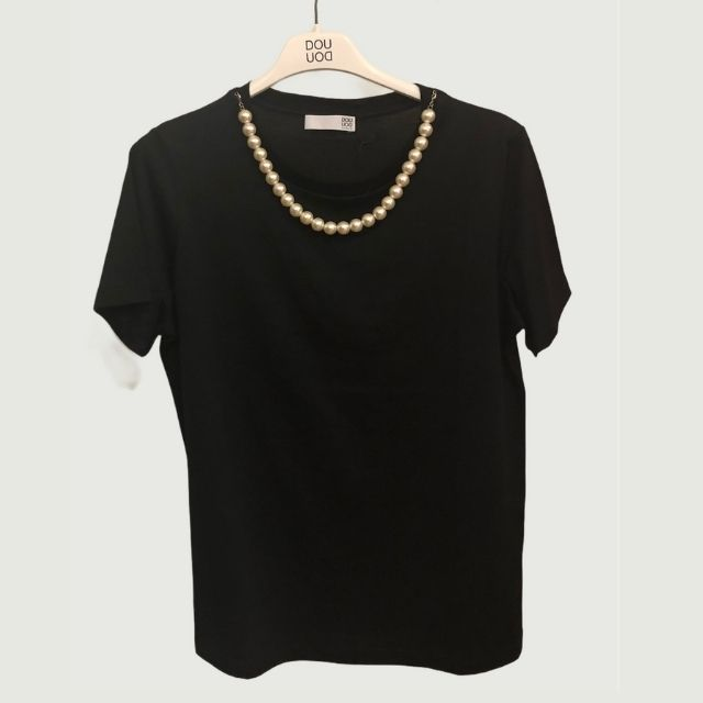 T-SHIRT CON PERLE IN JERSEY