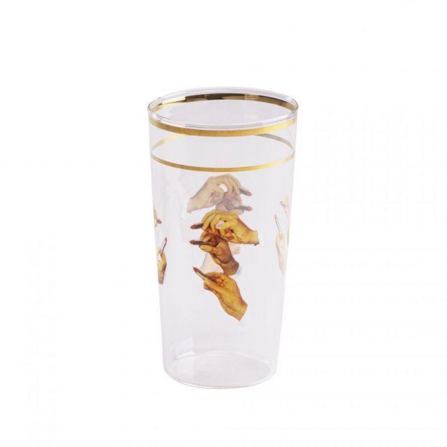 BICCHIERE IN VETRO GLASS LIPSTICKS H 13 cm