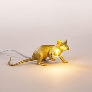 LAMPADA DA TAVOLO IN RESINA MOUSE GOLD SDRAIATA