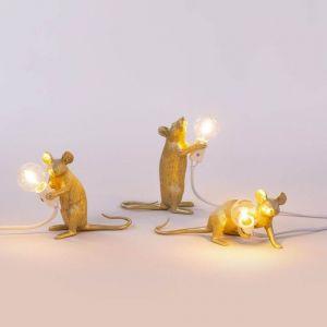 LAMPADA DA TAVOLO IN RESINA MOUSE GOLD IN PIEDI