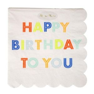 Meri Meri TOVAGLIOLI GRANDI HAPPY BIRTHDAY Set 20 pz
