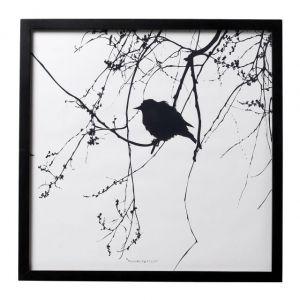 Bloomingville  QUADRO con imagine uccellino su rami 50 x h50 cm