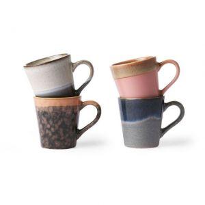 TAZZINE CAFFE' IN CERAMICA SET DI 4