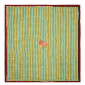 TELO MUSSOLA 220 x 220 cm NIZAM STRIPES TURQUOISE ACID GREEN