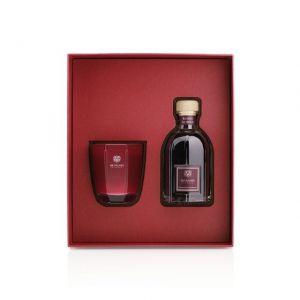 GIFT BOX ROSSO NOBILE CANDELA 500 gr e DIFFUSORE 500 ml CON BASTONCINI