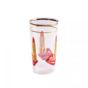 BICCHIERE IN VETRO GLASS TONGUE H 13 cm