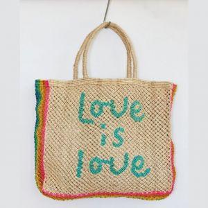 BORSA in  JUTA LOVE IS LOVE Natural with Aqua and Rainbow